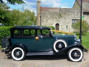 Vintage American wedding car