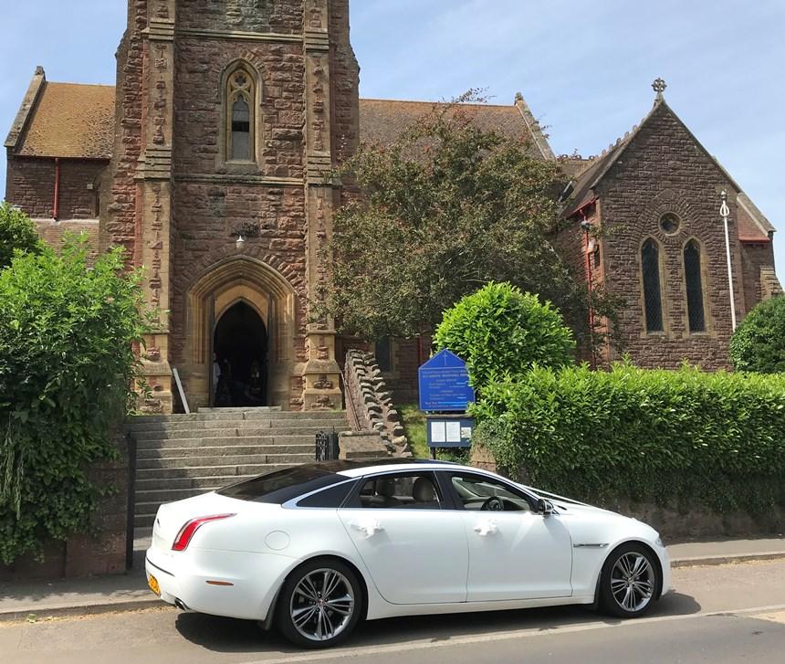 White Jaguar Wedding Car Hire In Bideford, Devon