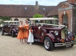 Vintage era wedding car in Romsey