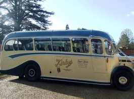 Blue and Cream vintage bus hire in Farnham