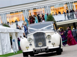 Classic white wedding car in Portsmouth