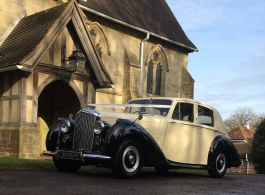 Ivory and Black Bentley wedding car in Redhill