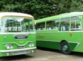 Green Bus for wedding hire Goodwood