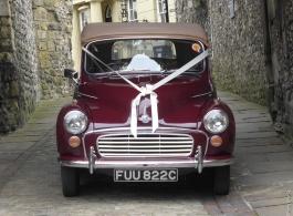 Convertible Morris Minor for weddings in Haywards Heath