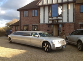 Silver Limousine for weddings in Newbury