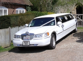 White stretch Limousine for wedding hire in Maidstone