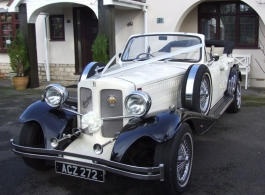 White Beauford wedding car in Windsor