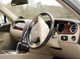 Silver Bentley wedding car in Heathrow