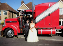 Big Red American Truck for wedding hire in Hampshire