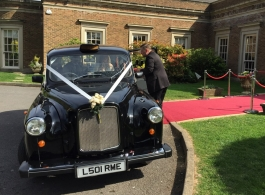 Pair of classic London wedding Taxis for hire in South Wales