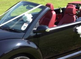 Black VW Beetle wedding car in Wiltshire