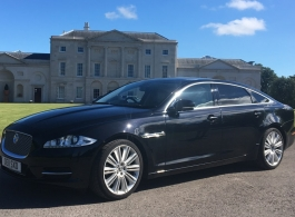 Black modern Jaguar XJ for wedding hire in Southampton