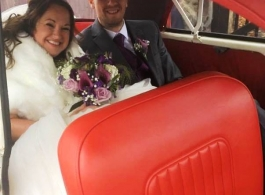 White Morris Minor for weddings in Kent