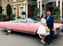 Pink Cadillac for wedding hire in Richmond
