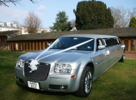 Silver stretched Limousine for weddings in Chichester