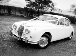 White classic Jaguar wedding car hire in Knutsford