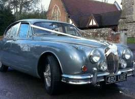 Classic Silver Jaguar for weddings in Chalfont St Giles