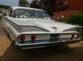 American 1960s wedding car for hire in Ashford