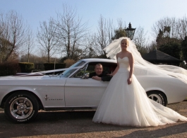 Classic American wedding car in Bromley