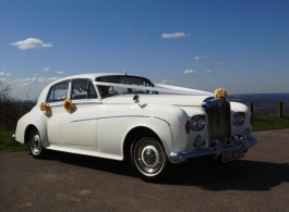 White classic Bentley S3 for weddings in Maidstone