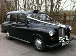 Classic Black London Taxi for weddings in Cardiff