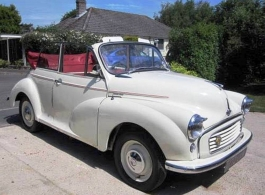 Classic convertible Morris for weddings in Crawley