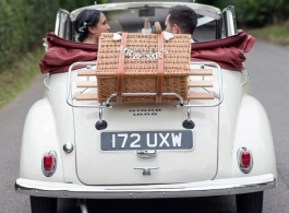 White Morris Minor wedding car for hire in Godstone