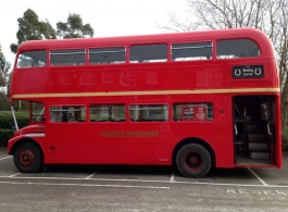 Red Double Deck London Bus for wedding hire in Hook