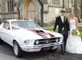 White Mustang for weddings in Croydon