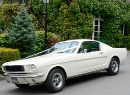 White Mustang for weddings in Guildford