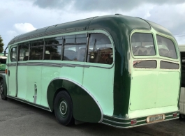 Cream vintage bus for weddings in Somerset