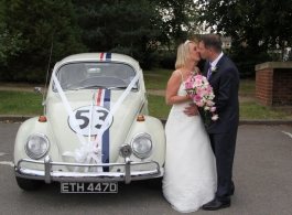 Herbie VW Beetle for wedding hire in Hampshire, Surrey, Berkshire and London