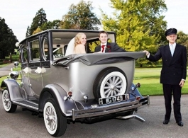 Silver vintage style car for weddings in Henley