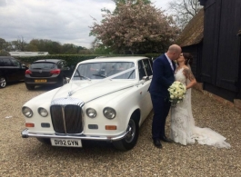 White Daimler wedding car for hire at Waltham Abbey