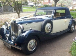 Vintage Convertible Jaguar for wedding hire in Burton On Trent