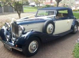 Vintage Convertible Jaguar for wedding hire in Burton On Trent