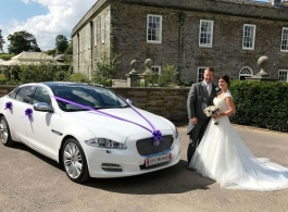 White Jaguar wedding car in Bideford