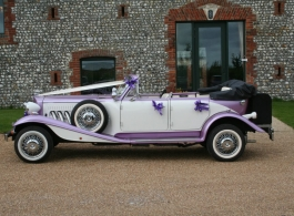 Vintage Lilac Beauford wedding car in Portsmouth