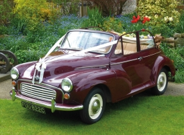 Convertible Morris Minor for weddings in Uckfield