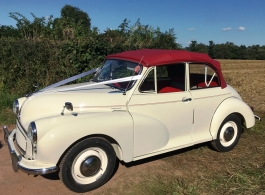 Classic Morris Minor for wedding hire in Dorking