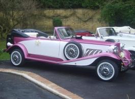 Pink vintage wedding car in Southampton
