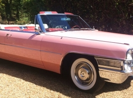 Pink Cadillac for wedding hire in Windsor