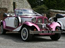 Vintage style Pink wedding car in Southsea