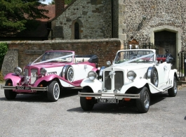 Pink and white wedding car hire in Emsworth