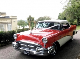 Red American classic car for weddings in Windsor