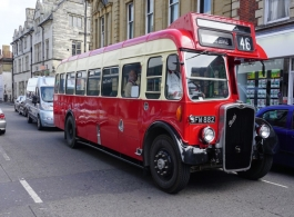 Red single deck bus for weddings in Exeter