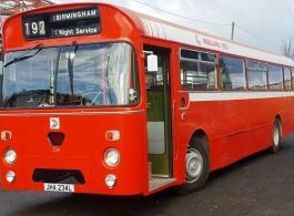 Single deck Red bus for weddings in Birmingham
