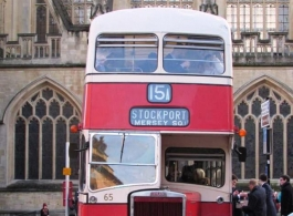 Red and Cream bus for weddings in Honiton