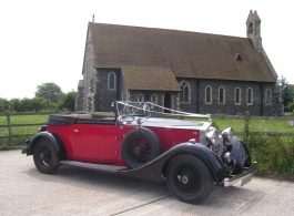 Vintage Convertible Rolls Royce for weddings in Canterbury
