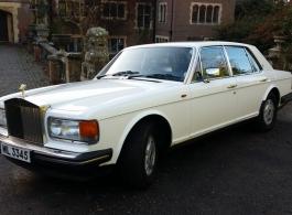 White Rolls Royce Silver Spirit for weddings in Hastings